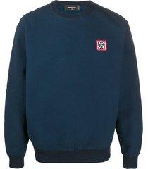 dsquared2 logo patch textured sweatshirt - blue