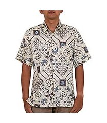 men's batik cotton shirt, 'javanese batik' (indonesia)