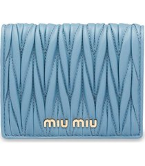 miu miu matelassé leather wallet - blue