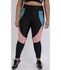 calça legging feminina plus size com recortes cintura alta preta