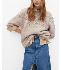 mango women's embossed contrasting knit sweater