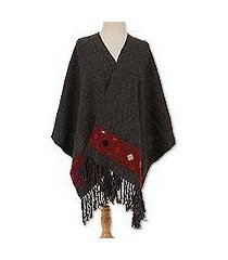 wool shawl, 'scarlet geometry' (mexico)