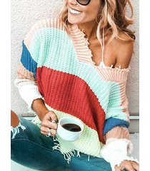 pink color block stripe random ripped knit sweater