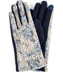 women's leopard mixed media jersey touchscreen glove