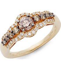 chocolatier® chocolate diamonds® and vanilla diamonds® 14k honey gold™ ring