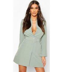 blazer jurk met ceintuur en zak detail, salie