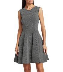 akris punto women's geo knit fit-&-flare dress - black cream - size 12