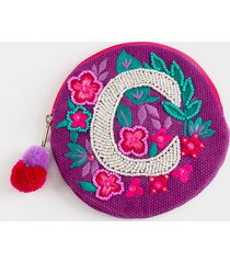 women's c round initial coin pouch in purple by francesca's - size: one size