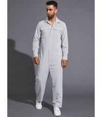 hombres moda casual estampado de rayas manga larga mono