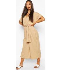 rib oversized wrap culotte jumpsuit, sand