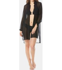 carmen marc valvo tie-front shirt cover-up women's swimsuit