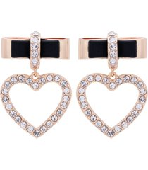 guess gold-tone crystal bow & heart charm drop earrings