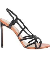 francesco russo designer shoes, black braided leather high heel sandals