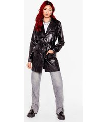 womens a longline shot belted faux leather jacket - black