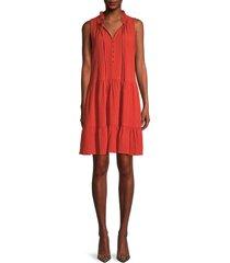 calvin klein women's crinkled sleeveless tiered dress - spicy orange - size 14