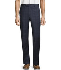 plaid wool blend pants