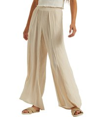 women's billabong wandering soul wide leg pants, size medium - beige