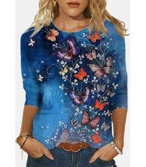 camicetta da donna in cotone a maniche lunghe con stampa o-collo con stampa farfalle plus