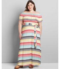 lane bryant women's multi-way off-the-shoulder maxi dress 10/12 farrah stripe