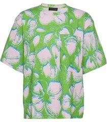 katalina, 1212 allover tee blouses short-sleeved grön stine goya