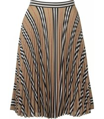 burberry logo and stripe print crepe pleated skirt
