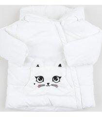 jaqueta infantil gatinho com zíper e capuz branca