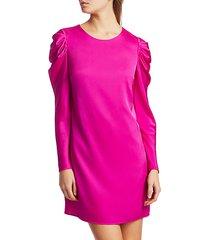 stretch silk carina draped long-sleeve dress