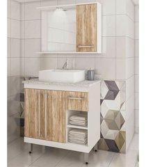 conjunto para banheiro tampo granito 3 portas lilies mã³veis - branco/marrom - dafiti