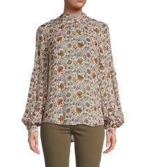 veronica beard women's arlene paisley-print silk blouse - bone multi - size 14