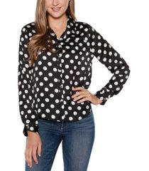 belldini black label polka dot long sleeve collared button up shirt top