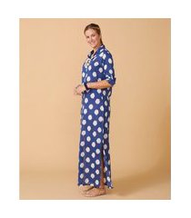 camisão feminino -camisão adri cor: azul e branco estampado - tamanho: p