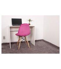 kit escrivaninha 90cm branca + 01 cadeira botonê veludo - rosa