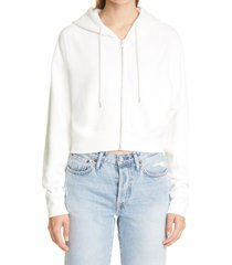 john elliott boca crop cotton hoodie, size 3 in salt at nordstrom