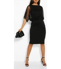 maternity dobby mesh overlay midi dress, black