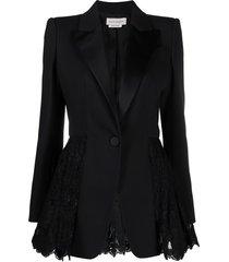 alexander mcqueen lace-panelled blazer - black