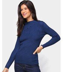tricô top modas gola alta detalhe botões feminino - feminino