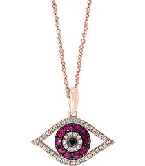 14k rose gold pink ruby, black & white diamond evil eye pendant necklace