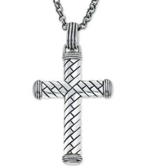 esquire men's jewelry decorative cross pendant necklace in sterling silver, created for macy's