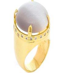 anel kumbayá redondo raquel schiavon semijoia banho de ouro 18k pedra cat eye