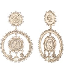 marchesa gold-tone pave & imitation pearl coin drop earrings