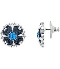 downton abbey crystal enamel button earrings