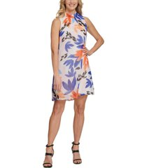 dkny floral-print mock-neck trapeze dress