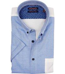 blue industry korte mouw overhemd blauw wit