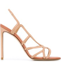 francesco russo braided open toe sandals - neutrals
