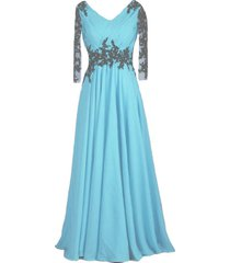 vintage sheer long sleeves v neck beaded formal prom evening dresses light blue