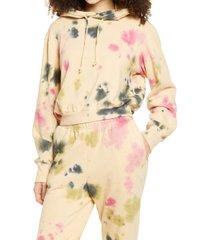 plus size women's afrm fink crop tie dye hoodie, size 3x - beige