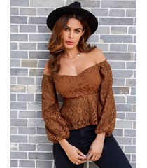 yoins coffe lace off the shoulder long sleeves blouse