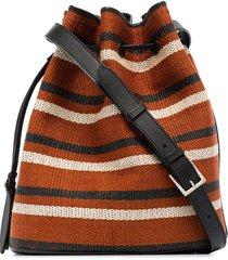 hunting season tassel-trimmed striped bucket bag - black