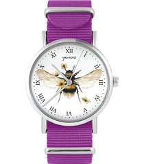 zegarek - bee natural - amarant, nylonowy