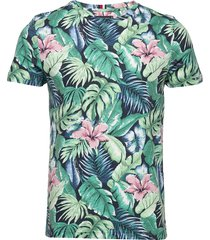 all over flower print tee t-shirts short-sleeved grön tommy hilfiger
